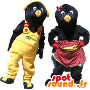 2 mascots couple of black and yellow moles - MASFR032980 - Animals of the forest