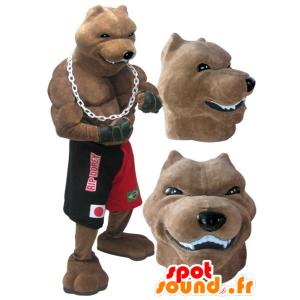 Σκύλος μασκότ γίγαντα και μυϊκή φυλή μπόξερ πραγματοποιήθηκε - MASFR032986 - Μασκότ Dog