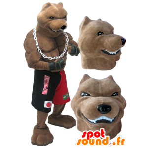 Mascotte de chien de race géant et musclé en tenue de boxeur - MASFR032986 - Mascottes de chien