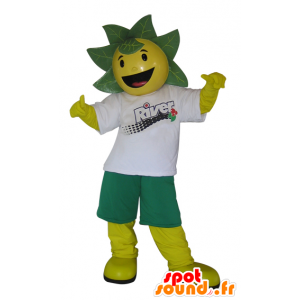 Žlutá a zelená muž maskot s listy na hlavě - MASFR032987 - Maskoti rostliny