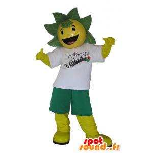 Mascotte de bonhomme jaune et vert avec des feuilles sur la tête - MASFR032987 - Mascottes de plantes