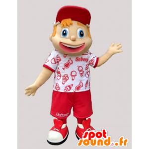 Mascot nuori poika pukeutunut punaiseen ja valkoinen lomailija - MASFR032990 - Maskotteja Boys and Girls