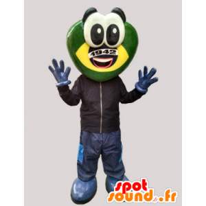 Μασκότ φουτουριστικό βάτραχος, πράσινο και κίτρινο πλάσμα - MASFR032995 - βάτραχος μασκότ