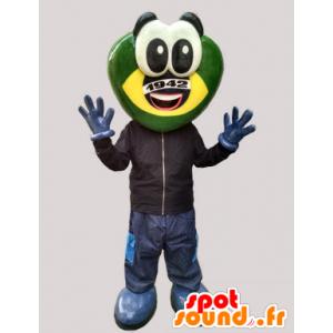 Mascotte de grenouille futuriste, de créature verte et jaune - MASFR032995 - Mascottes Grenouille
