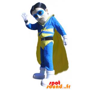 Mascota del vigilante superhéroe en traje azul y amarillo