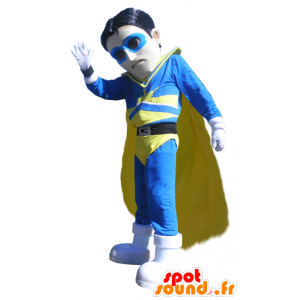 Maskottchen Superheld Vigilanten in blauen Outfit und gelb - MASFR033001 - Superhelden-Maskottchen