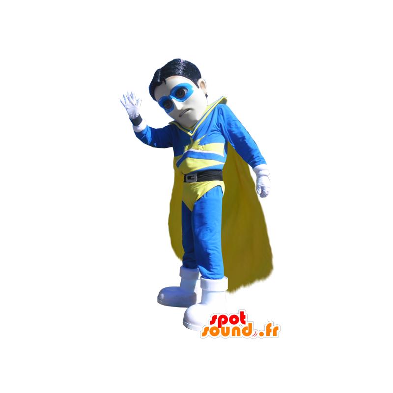 Μασκότ υπερήρωα επαγρύπνησης μπλε και κίτρινο στολή - MASFR033001 - superhero μασκότ