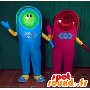 2 Maskottchen, ein rotes Licht und ein grünes Licht - MASFR033003 - Maskottchen von Objekten