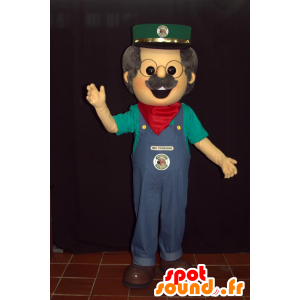 Mascot man in overalls with a cap and a scarf - MASFR033007 - Human mascots