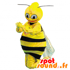Mascot black bee and realistic yellow - MASFR033012 - Mascots bee