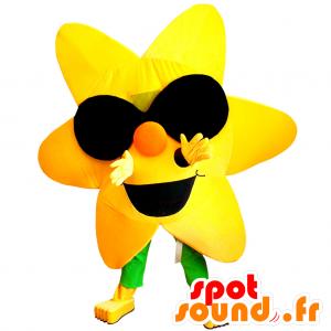 Mascotte de fleur jaune géante avec des lunettes de soleil - MASFR033013 - Mascottes de plantes
