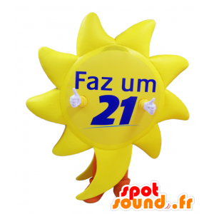 Giant keltainen aurinko maskotti oranssi housut - MASFR033015 - Mascottes non-classées