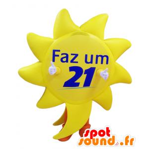 Obří žluté slunce maskot s oranžovými kalhotami - MASFR033015 - Neutajované Maskoti