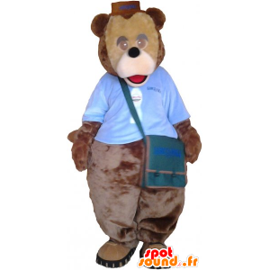 Big teddy bear mascot brown with a bag - MASFR033019 - Bear mascot