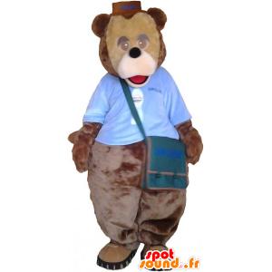 Mascotte de gros nounours marron avec une sacoche - MASFR033019 - Mascotte d'ours