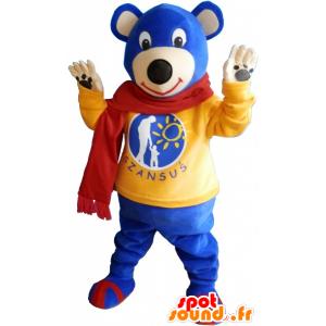 μπλε μασκότ αρκούδα φορώντας ένα κόκκινο φουλάρι - MASFR033020 - Αρκούδα μασκότ