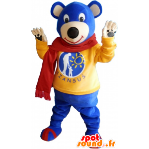 Blue bear mascot wearing a red scarf - MASFR033020 - Bear mascot