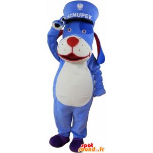Μπλε και άσπρο μασκότ σκυλί με ένα καπάκι - MASFR033021 - Μασκότ Dog