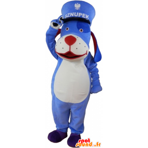 Cane mascotte blu e bianco con un kepi - MASFR033021 - Mascotte cane