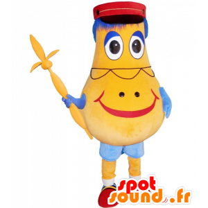 Giallo pupazzo mascotte a forma di pera con un kepi - MASFR033022 - Umani mascotte