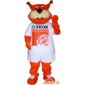 Orange Fuchs Maskottchen in einem T-Shirt gekleidet - MASFR033023 - Maskottchen-Fox