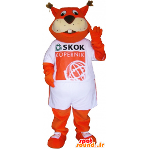 Orange fox mascot dressed in a t-shirt - MASFR033023 - Mascots Fox