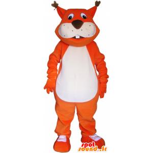 Jättiläinen oranssi kettu maskotti kanssa iso kalu - MASFR033024 - Fox Maskotteja