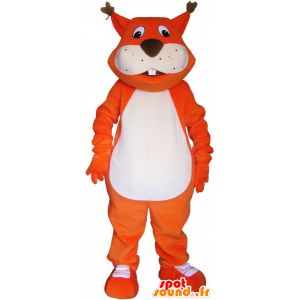 Obří oranžová fox maskot s velkým kohout - MASFR033024 - Fox Maskoti