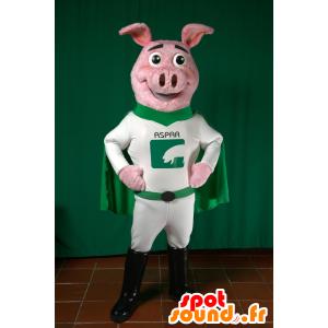 Świnia maskotka ubrana w zielone i białe superbohatera - MASFR033026 - Maskotki świnia