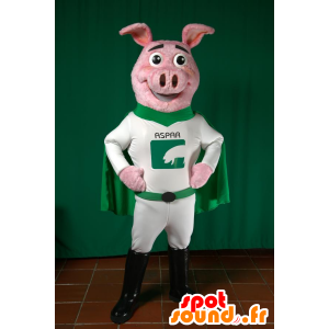 Pig mascot dressed in green and white superhero - MASFR033026 - Mascots pig