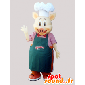 Chef cook pig mascot with an apron and a chef's hat - MASFR033027 - Mascots pig