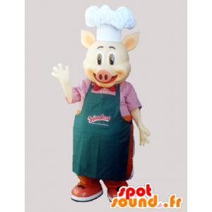 Główny kucharz maskotka świnia z fartuch i kapelusz szefa kuchni - MASFR033027 - Maskotki świnia