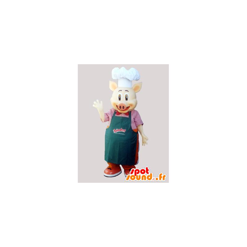 Mascotte de cochon chef cuisiner avec un tablier et une - Cuisiner avec une bouilloire ...