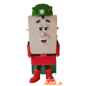 Square snowman mascot with a cape and a helmet - MASFR033028 - Human mascots
