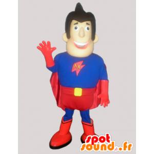 Mascot man superhero in blue and red - MASFR033029 - Human mascots