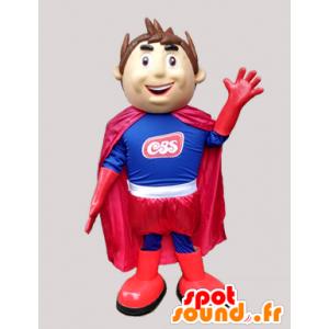Menino Mascote super-herói em azul e vermelho - MASFR033030 - Mascotes Boys and Girls