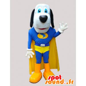 χαριτωμένο μασκότ σκυλί σε μπλε και κίτρινο υπερήρωα - MASFR033034 - Μασκότ Dog