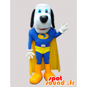 Cute dog mascot in blue and yellow superhero - MASFR033034 - Dog mascots