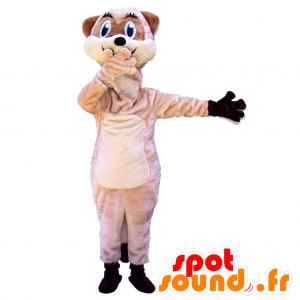 Mascotte de lémurien beige et blanc à l'air espiègle