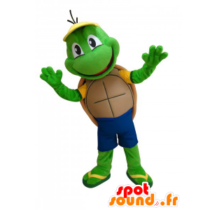 Mascot cute little green turtle and funny - MASFR033037 - Mascots turtle