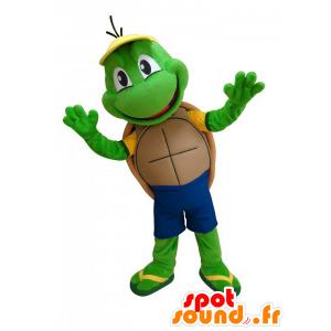 Mascotte leuk weinig groene schildpad en grappige - MASFR033037 - Turtle Mascottes