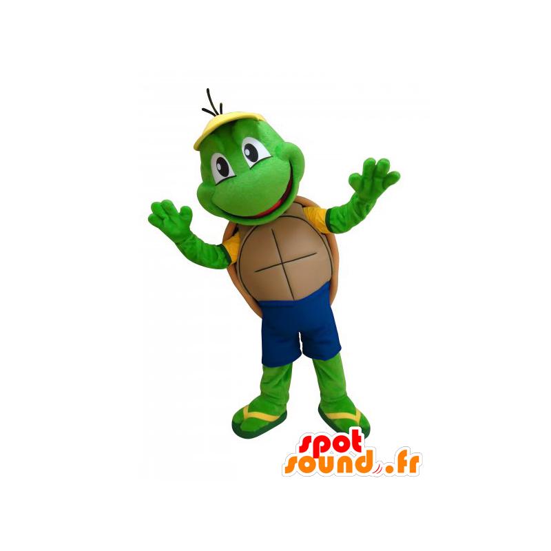 Mascotte de tortue verte mignonne et rigolote dans - Image tortue rigolote ...