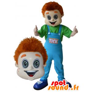 Rødhåret drengemaskot med blå overall - Spotsound maskot