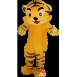 Simpatico gigante della mascotte della tigre di colore giallo - MASFR033043 - Mascotte tigre