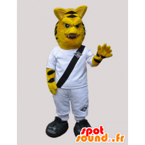 Tiger Maskottchen aussehen heftig, in weiß gekleidet - MASFR033044 - Tiger Maskottchen