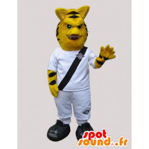 Mascotte van de tijger te kijken felle, gekleed in het wit - MASFR033044 - Tiger Mascottes
