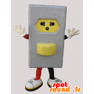 Mascot gray and yellow electrical outlet - MASFR033049 - Mascots of objects