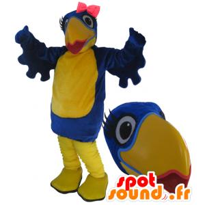 Mascotte de gros oiseau bleu et jaune avec du rouge à lèvres - MASFR033051 - Mascotte d'oiseaux