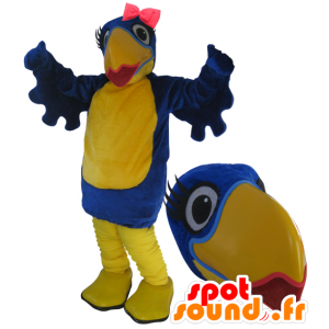 Wholesale mascot blue and yellow bird with lipstick - MASFR033051 - Mascot of birds