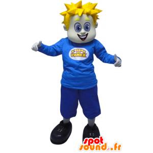 Vaalea mies maskotti pukeutunut sininen piikkejä - MASFR033053 - Mascottes Homme